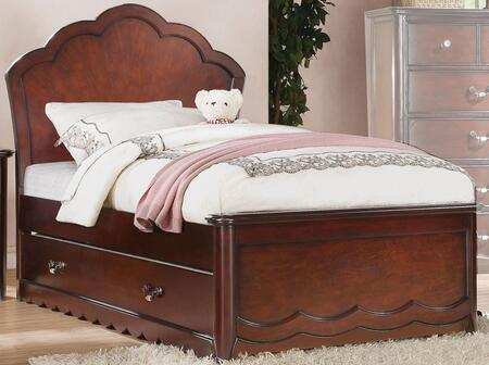 Cecilie Collection 30270TTRN Twin Size Trundle Bed with Curved Headboard  Low Profile Footboard and Pine Wood Construction in Cherry