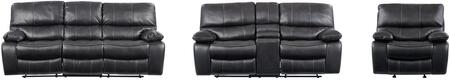 U0040 - RSCRLSGR 3-Piece Living Room Set with Reclining Sofa  Reclining Loveseat and Recliner in Grey and