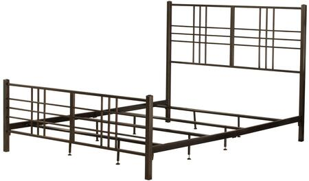 Manhattan Collection 2089-500 Queen Size Bed with Headboard  Footboard  Rails  Open Frame Panel Design and Sturdy Metal Construction in Dark