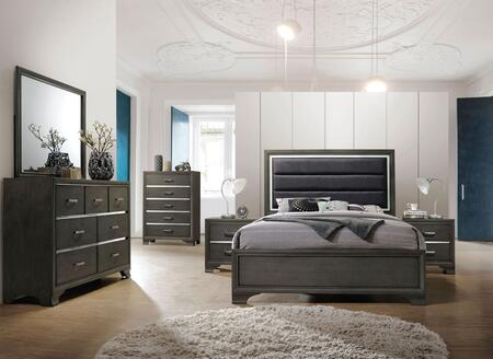 Carine II Collection 26260Q6SET 6 PC Bedroom Set with Queen Size Bed + Dresser + Mirror + Chest + 2 Nightstands in Grey