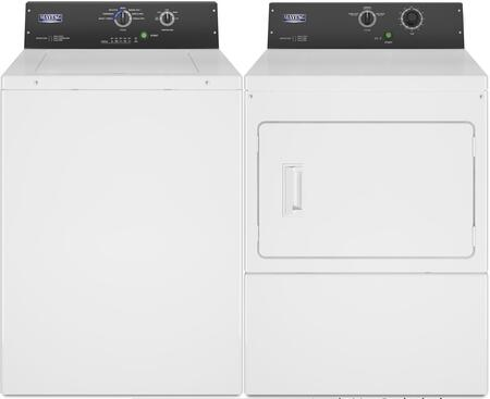 Commercial Laundry Pair with MAT20MNAWW 2.9 cu. ft. Top Load Washer and MDE20MNAYW 7.4 cu. ft. Electric