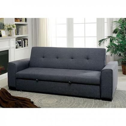 "Reilly Collection CM2815-PK 89"" Futon Sofa with Pull-out Underseat Base  Tufted Detailing and Linen-Like Fabric in"