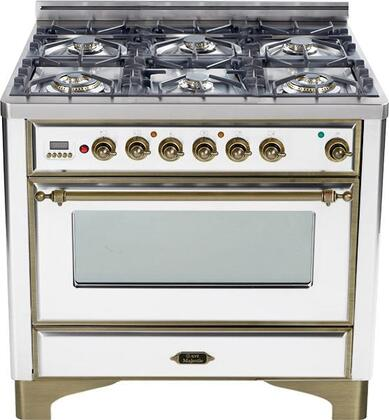 "UM-906-DMP-B-Y 36"" Majestic Series Dual Fuel Range with 3.55 cu. ft. Oven Capacity  6 Burners  Electronic Ignition  Digital Clock and Timer  and Oiled Bronze"