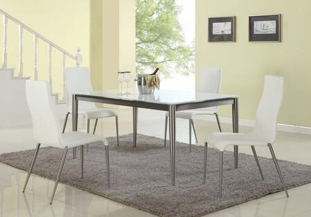 REMY-5PC-WHT REMY DINING 5 Piece Set - White Starphire Glass Dining Table with 4 White Contour Back Upholstered Stabled