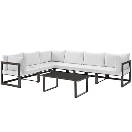 Fortuna Collection EEI-1737-BRN-WHI-SET 7-Piece Outdoor Patio Sectional Sofa Set with Coffee Table  3 Center Sections and 3 Corner Sections in Brown and