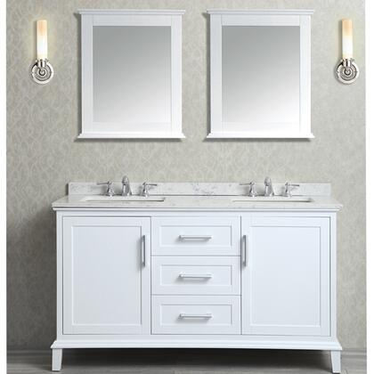 SCNAN60SWH Nantucket 60 inch  Double-Sink Bathroom Vanity Set with Marble Top  Tapered Legs  and Molding Detail in