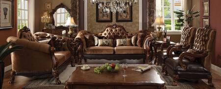 Dresden Collection 52095SL2C 4 PC Living Room Set with Sofa + Loveseat + 2 Accent Chairs in Cherry Oak