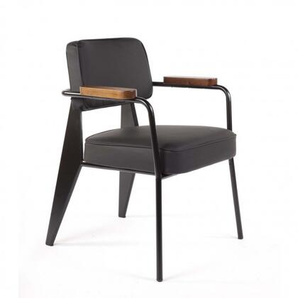 Myson FX852BLACK Arm Chair with Tapered Legs  Stainless Steel Frame and PU Leather Upholstery in Black and