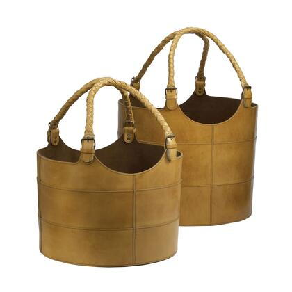 819005 Nested Caramel Leather Buckets - Set of 2