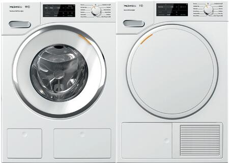 White Front Load Laundry Pair with WWH660WCS 24 inch  Front Load Washer and TWF160WP 24 inch  Electric