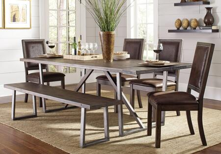 Genoa Collection 104911-S6 6-Piece Dining Room Set with Rectangular Dining Table  4 Side Chairs and Bench in