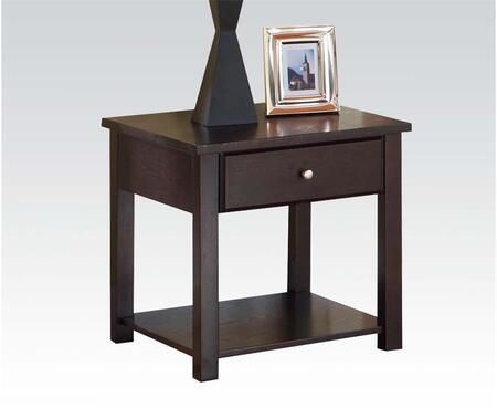 Malden Collection 80258 24 inch  End Table with 1 Drawer  Bottom Shelf  Metal Hardware  Square Legs  Poplar Wood and Basswood Veneer Materials in Espresso