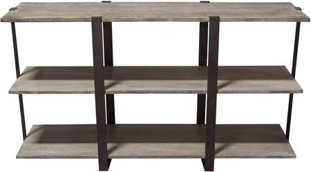 """Sherman_Collection_SHERMANSHGO_59""""_3_Tiered_Shelf_Unit__Iron_Frame_Supports__and_Poplar_Wood_Construction_in_Grey_Oak"""