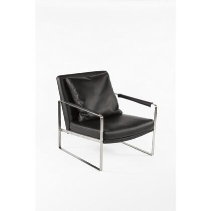 Ustrup FV372BLK Lounge Chair with Stainless Steel Frame  Throw Pillow Included and Leatherette Upholstery in