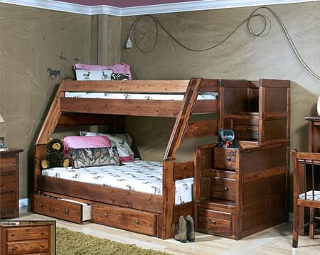 3524720-4453-S Twin Over Full Bunk Bed with Stairway Chest with Storage