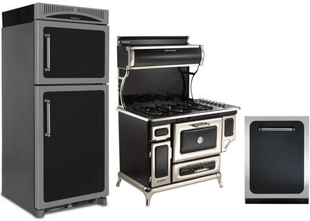 3-Piece Black Kitchen Package with HCTMR20RBLK 30 inch  Top Freezer Refrigerator  720000PBLK 30 inch  Freestanding Gas Range  and HCDWI1BLK 24 inch  Fully Integrated