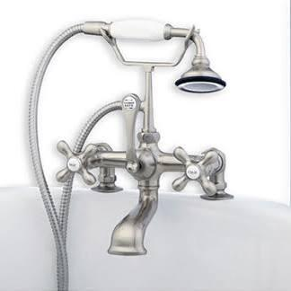 CAM463-2-BN Clawfoot Tub Deck Mount Brass Faucet with Hand Held Shower - Brushed