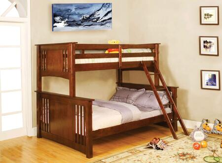 Spring Creek Collection CM-BK602F-OAK-BED Twin Over Full Size Bunk Bed with Angled Ladder  10 PC Slats Top/Bottom  Solid Wood and Wood Veneer Construction in