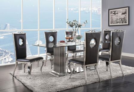 Cyrene Collection 620758SET 7 PC Dining Room Set with Glass Top Dining Table and 6 Black PU Leather Side Chairs in Stainless Steel
