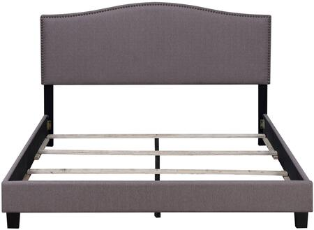 Barron U-31205-KGBED-7G 89 inch  King Upholstered Bed with Upholstered Side Rails  Arched Headboard and 4 Cross Slats with Support Leg in Stallion Taupe Fabric and