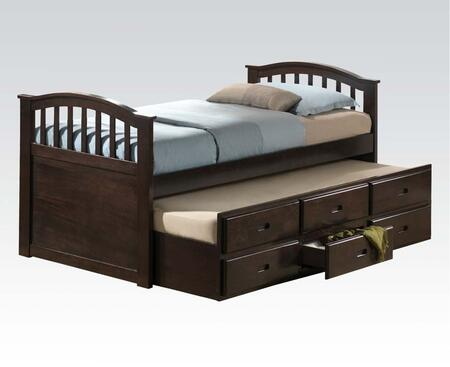 San Marino Collection 04993 Full Size Bed with Storage Drawers  Trundle  Arched Design  Solid Wood and Wood Veneer Construction in Dark Walnut