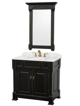 WCVTS36BLCW 36 in. Single Bathroom Vanity in  Antique Antique Black with White Carrera Marble Top with White Undermount Sink and 28 in.