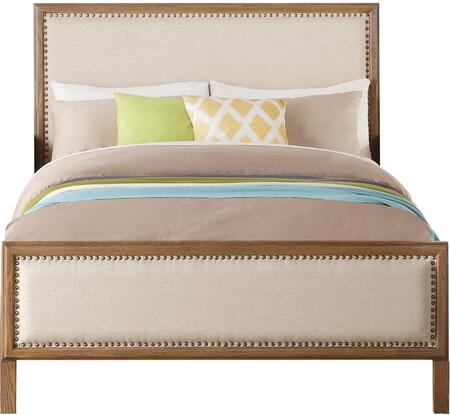 Inverness Collection 36090T Twin Size Bed with Nail Head Trim  Beige Fabric Upholstery  Pine and Cypress Wood Construction in Reclaimed Oak