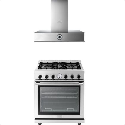 2-Piece Stainless Steel Kitchen Package with RN301SPSS 30 inch  Freestanding Dual Fuel Range