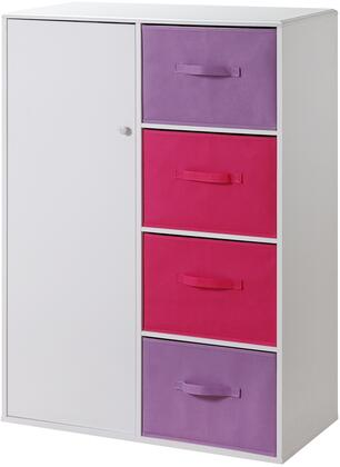 Carla Collection 12440 Girl's 34 inch  Storage Armoire with 4 Large Canvas Style Drawers and 1 Door in