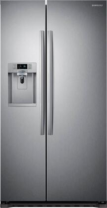 Samsung 22.3 Cu. Ft. Counter-Depth Side-by-Side Refrigerator with Thru-the-Door Ice and Water Stainless Steel RS22HDHPNSR