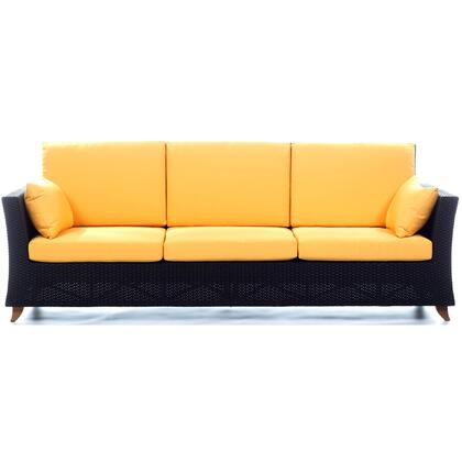 PR90-Y 92 inch  Rattan Deep Seating Sofa with Solid Teak Legs  Heavy-Gauge Aluminum Frame and Water Resistant Polyester Fabric Cushion in