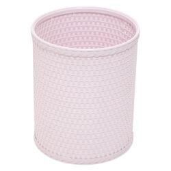 R426CP Chelsea Collection Decorator Color Round Wicker Wastebasket in Crystal