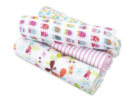 Z100 4 Count 100% Cotton Muslin Swaddle Blankets with Breathable Design to Reduce Overheating and Gets Softer with Every