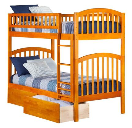 Richland AB64147 Twin Over Twin Bunk Bed With Urban Bed Drawers In Caramel
