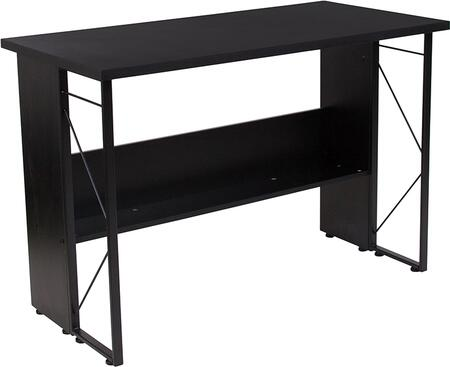 Summit Collection NAN-JN21718-GG 43 inch  Computer Desk with Storage Shelf  Partial Privacy Panel  Black Powder Coated Frame and Laminated Materials in Black