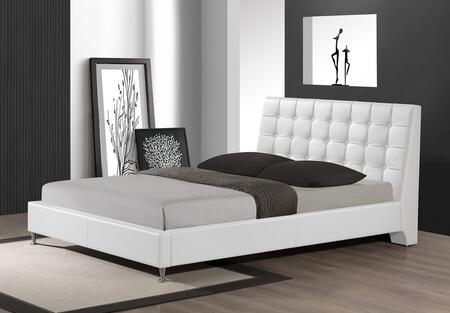 CF8283-QUEEN-WHITE Baxton Studio Zeller Modern Bed With Upholstered Headboard - Queen Size  In