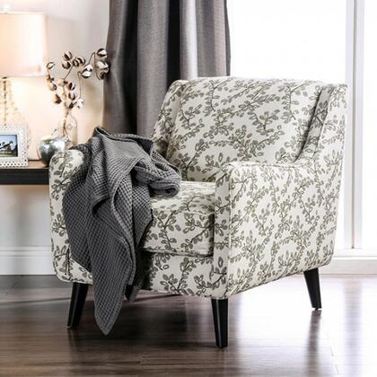Dorset SM8564-CH-FL Floral Chair with Tapered Legs  Piped Stitching and Fabric Upholstery in