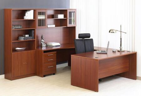 1C100010RCH Cherry Executive U Shaped Desk with Hutch and