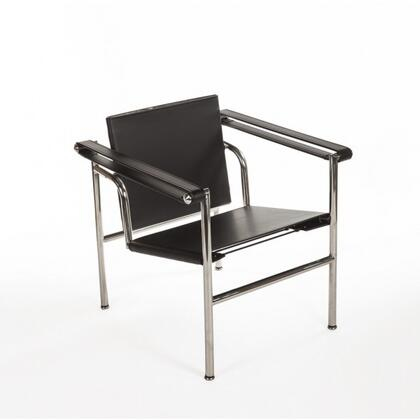 Horten FEC9203BLK Arm Chair with Stainless Steel Frame and Faux Leather Upholstery in