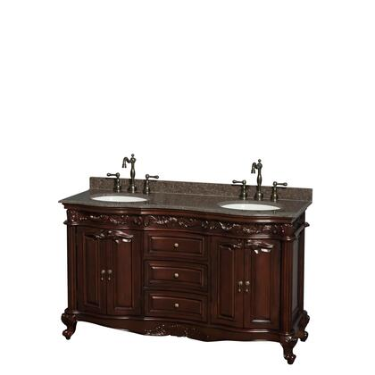 WCJJ23360DCHIBUNOMXX 60 in. Double Bathroom Vanity in Cherry  Imperial Brown Granite Countertop  Undermount Oval Sinks  and No