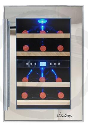 Vinotemp VT12TSP2Z3A 12-Bottle Dual-Zone Thermoelectric Mirrored Wine Cooler