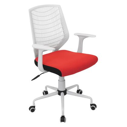 OFC-NET W+R Network Contemporary Height Adjustable Office Chair with Swivel in White and