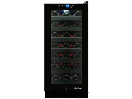 VT-32TS-FE 33 Bottle Touch Screen Wine Cooler With Front Exhaust  Blue LED Interior Light  Dual-Paned Glass Door & In