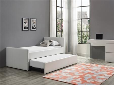 Duette Collection CB14BDXLTWINSET 2 PC Bedroom Set with White Eco-Leather Upholstered Twin Size Bed and  High Gloss White Lacquer Office