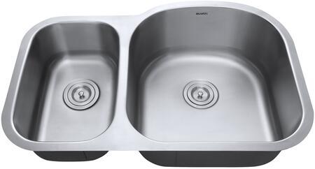 RVM4405 Undermount 16 Gauge 32 inch  Kitchen Sink Double Bowl - Right