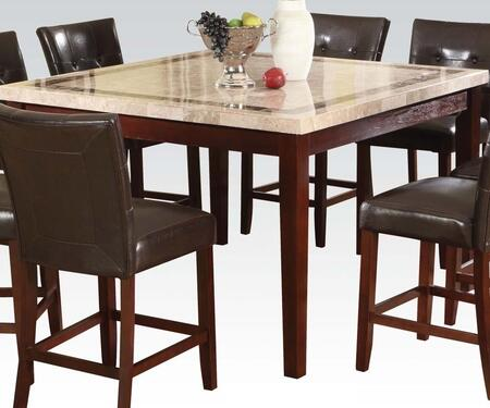 Earline Collection 70774 54 inch  Counter Height Table with White Marble Top  Brown Marble Trim Insert  Tapered Legs and Wood Construction in Walnut