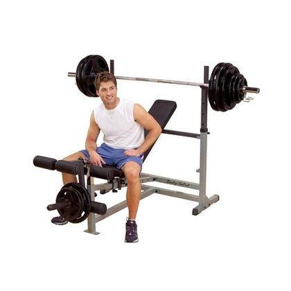 GDIB46LP4 Olympic Bench Package with Leg Developer  6-Position Incline and Decline  Adjustable Uprights  DuraFirm