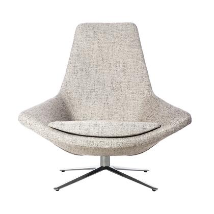 Haden FV609TWGREY Lounge Chair with Stainless Steel Base  360 Degree Swivel and Fabric Upholstery in Twill