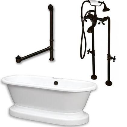 ADEP-398463-PKG-ORB-NH Acrylic Double Ended Pedestal Bathtub 70 inch  x 30 inch  with no Faucet Drillings and Complete Oil Rubbed Bronze Plumbing