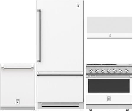 4-Piece White Kitchen Package with 36